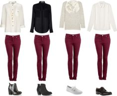 Burgundy Pants Outfit, Burgundy Skinny Jeans, Red Pants, White Burgundy, Outfit Pantalon Vino, Bild Outfits, Wine Pants, Look Jean, Outfit Sets