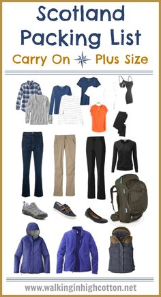 Heading to the Highlands? What to wear in Scotland in the spring--only traveling with hand luggage (carry on) and using plus sized clothing. Covering three seasons with mix and match layers. via Walking in High Cotton. Source by va_grown ideas spring Packing For Europe, Packing Tips For Vacation, Vacation Travel, Beach Travel, Suitcase Packing, Travel Packing, Family Travel, Vacations, Scotland Vacation