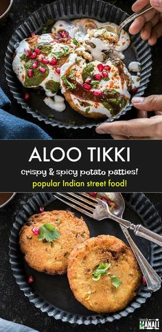 Crispy Aloo Tikki is popular Indian street food! These deep fried potato patties are often dunked in yogurt and topped with various chutney and spices and relished with a cup of chai! #indian #vegetarian #streetfood #indianfood via @cookwithmanali