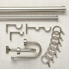 "Matte Nickel 1.25""dia.x120""–170"" Curtain Rod Set | Crate and Barrel"
