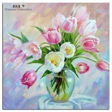 Afbeeldingsresultaat voor tulpen schilderen in een vaas
