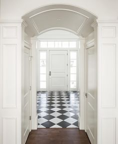 3 Diligent Tricks: Modern Wainscoting Entry Ways wainscoting basement garage.Modern Wainscoting Entry Ways wainscoting colors foyers. Picture Frame Wainscoting, Beadboard Wainscoting, Dining Room Wainscoting, Wainscoting Panels, Wainscoting Ideas, Checkered Floors, Black And White Tiles, Floor Colors, Doors