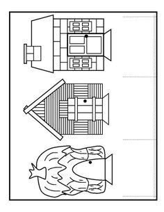 Three little pigs house coloring pages Three Little Pigs Houses, Three Little Pigs Story, Pig Crafts, Preschool Activities, House Colouring Pages, Coloring Pages, 3 Little Pigs Activities, House Template, Nursery Rhymes