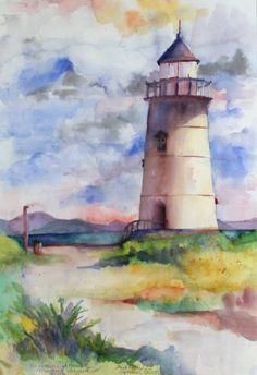 Watercolor Painting Techniques, Watercolour Painting, Watercolor Flowers, Painting & Drawing, Watercolor Sketch, Watercolor Landscape, Lighthouse Painting, Landscape Drawings, Art For Art Sake