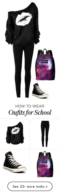 """""""School"""" by lizzie-cockerham on Polyvore featuring Max Studio, Converse and JanSport"""