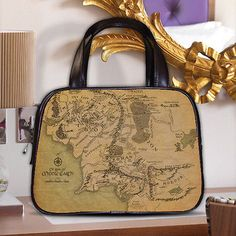 Map of Middle Earth Realm Land LOTR Women Classic Carrier Purse Leather Handbag