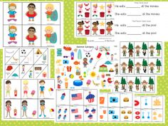 """Summer time grammar and vocabulary pack from """"THe Dabbling Speechie"""" Pinned by SOS Inc. Resources http://pinterest.com/sostherapy."""