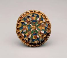 "Artist Unknown (Italy), ""Circular brooch"", first half of the 7th century, gold and colored glass"