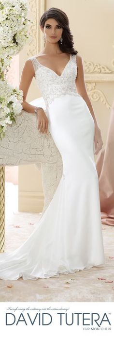 The David Tutera for Mon Cheri Fall 2015 Wedding Gown Collection - Style No. 215276 Briony davidtuteraformon... #sleevelessweddingdress @moncheribridals