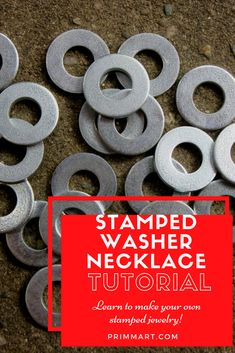 Metal Jewelry Stamped Washer Tutorial (Jewelry making) - Take simple hardware and a few tools to make great look jewelry. Learn how to create your own unique necklaces in this stamped washer necklace tutorial! Washer Necklace Tutorial, Washer Bracelet, Sea Glass Jewelry, Wire Jewelry, Beaded Jewelry, Hardware Jewelry, Boho Jewelry, Jewelry Ideas, Jewelry Crafts