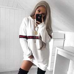 35 New Ideas Sweatshirt Dress Outfit Shirts Casual T Shirt Dress, Black Dress Outfits, Sweat Dress, Sweatshirt Dress, Sexy Dresses, Cute Outfits, Hoodie Outfit, Mini Dresses, Loose Shorts