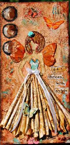 """She dances with Angels"" Mixed media girl on canvas by Bette Brody. 6x12 Available for sale in my etsy shop: http://www.etsy.com/shop/BettesCreations"