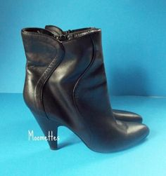 Nine West Ankle Booties Boots Dark Brown Leather Shoes Womens 8.5 #NineWest #FashionAnkle #Casual