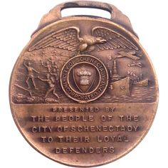 WWI Loyal Defenders Schenectady NY Watch Fob Medal