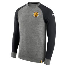 Men s Pittsburgh Steelers Nike Heathered Gray Black AW77 French Terry  Pullover Sweatshirt 69bb41653