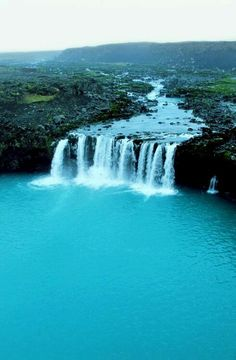 Turquoise waterfall Iceland