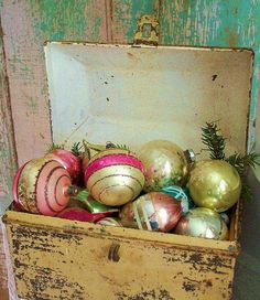 Beautiful #chippy old box filled #christmas #baubles