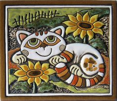 lovely ceramic clay wall plaque with cute resting cat and sunflowers design ideal gift for cat lovers handcrafted from high-quality ceramic clay, shaped by hand and hand painted with ceramic glazes with opening on the back to hang up on the wall unique. Painted Rocks, Hand Painted, Tile Projects, Clay Design, Cat Jewelry, Handmade Pottery, Handmade Ceramic, Tile Art, Ceramic Painting