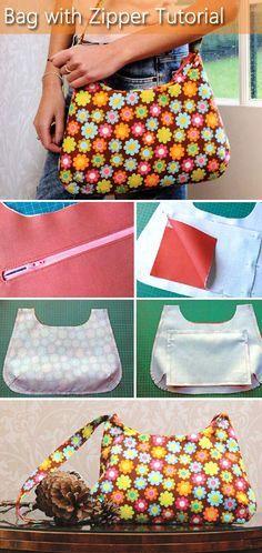 Bag with zipper Tutorial. http://www.handmadiya.com/2015/07/bag-with-zipper.html