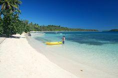 Kayaking at the blue lagoon on Nanuya Lailai Island, Yaswas, Fiji.