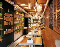 Inside of Simple, a fun locally-sourced restaurant in Kiev. Learn more about it on LightsOnline Blog!