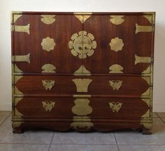CHINESE (TAIPEI} DRESSER CHEST 1960'S - 1970'S LOTS OF BRASS  (MAKE ME A OFFER)