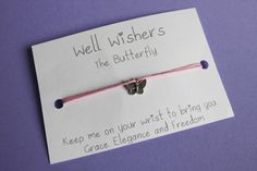 ♥ The message on the card is inspired by the charm and what it symbolises. For example : The Butterfly - Keep me on your wrist you bring you Grace, Elegance and Freedom. Wish Bracelets, Travel Gifts, Friendship Bracelets, Party Favors, Insects, Freedom, My Etsy Shop, Butterfly, Charmed
