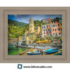 """""""Cinque Terre"""", Italie Cadre gris classique disponible sur www.leboncadre.com"""