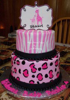 Girl Safari Baby Shower Cakes