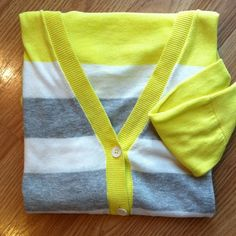 """Gap 3/4 sleeve striped cardi w/yellow color block Gap Design and Crafted 100% cotton cardi. Gray and white stripes contrasted with a canary yellow color block top and 3/4 sleeves. Comfy and cool. In excellent condition. Length approx 27"""" in length. Size Small GAP Sweaters Cardigans"""