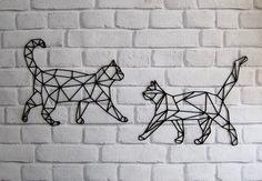 Geometric Cat Tattoo, Geometric Art, Wire Wall Art, Metal Wall Art, Stylo 3d, Vaporwave Art, Cat Decor, Cat Wall, Metal Artwork