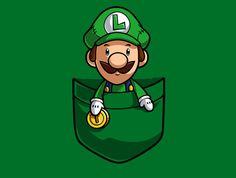 Pocket Luigi Super Mario T-shirt Graphic Hoodie by Purrdemonium - Unisex Pullover Black - MEDIUM - Front Print - Pullover Gaming Wallpapers, Cute Wallpapers, Witcher Wallpaper, Geeks, Mario E Luigi, Idee Baby Shower, Super Mario Art, Video Game Art, Cartoon Wallpaper