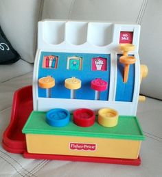 1994 Fisher-Price Pretend Cash Register with 3 Coins Works great! by TreasuresMemories on Etsy