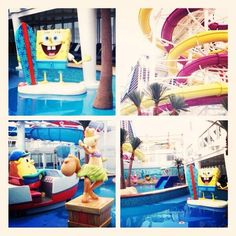 #NorwegianBreakaway Kid's Aqua Park with Nickelodeon Characters SpongeBob and Sandy Cheeks @Norwegian Cruise Line