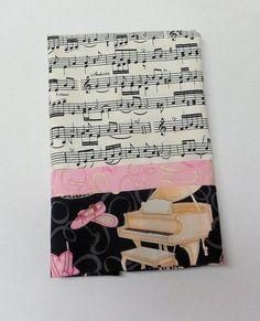 Travel Pillowcase Pillowcase Music Fabric Handmade by Quiltwear, $8.50