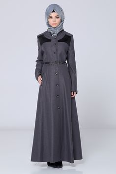 Long Grey Abaya with Belt