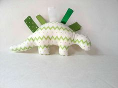 Baby Tag Toy  Green Plush Dinosaur  Stuffed by SweetSewingByJen