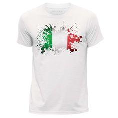 Stuff4 Men's White Round Neck T-Shirt/Italy/Italian Flag/Sz Neck T Shirt, Flag, Italy, Mens Tops, Shirts, Shopping, Fashion, Moda, Italia