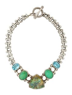 Sterling silver Stephen Dweck chain necklace with bezel set quartz and abalone doublet, chalcedony, and topaz with toggle closure. Stephen Dweck, Real Real, Doublet, Consignment Shops, Collar Necklace, Topaz, Turquoise Necklace, Quartz, Closure