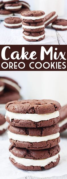 Cake Mix Oreo Cookies -- Cake mix Oreo cookies are a soft, chewy, delicious alternative to the store-bought variety. Devil's food cake mix makes them extra fudgy and an easy cream cheese frosting seals this sandwich deal!   halfscratched.com #cookie #recipe #dessert