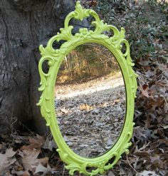 Vintage Wall Mirror Ornate Syroco Upcycled in Chartreuse. $120.00, via Etsy.