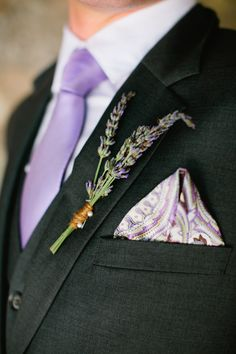 #lavender, #boutonniere  Photography: Gladys Jem Photography - gladysjem.com Design + Planning: Charmed Events Group, LLC - charmedeventsplanning.com Floral Design: Poppy\'s Petalworks - poppyspetalworks.com  Read More: http://www.stylemepretty.com/2013/06/11/spring-inspired-love-shoot-from-charmed-events-group-gladys-jem-photography/
