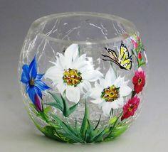 Alpine Crackle Glass Votive