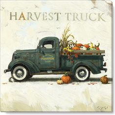 Harvest Truck Canvas Artwork Print Lovely classic Harvest Truck canvas artwork print from the Darren Gygi House Assortment is the right addition to your fall decor. Old Pickup Trucks, Farm Trucks, Diesel Trucks, Dually Trucks, Jeep Pickup, Lifted Trucks, Country Trucks, Vintage Clipart, Flower Truck