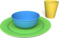 Green Eats Tabletop Set -  This set brings together the most environmentally friendly Plate, Bowl, and Tumbler on Earth. Dishwasher safe, and designed to be used with real food, our Tabletop Set is made from 100% recycled plastic milk containers which save energy and greenhouse gas emissions.