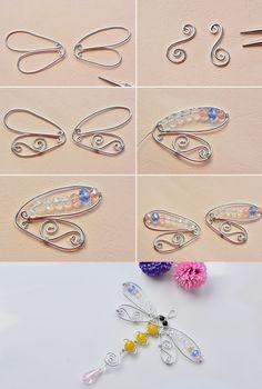 Wire Jewelry Designs, Handmade Wire Jewelry, Wire Wrapped Jewelry, Beaded Jewelry, Jewellery, Beaded Crafts, Wire Crafts, Jewelry Crafts, Beaded Dragonfly