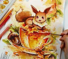 My Pokemon Box on Warm autumn tea for Evee ♡♡♡ by nashi manga Cute Animal Drawings, Kawaii Drawings, Disney Drawings, Cute Drawings, Cute Pokemon Pictures, Cute Pokemon Wallpaper, Pokemon Eevee, Anime Kawaii, Cute Wallpapers