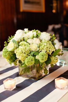 A beautiful centerpiece and tablecloth in Rhode Island