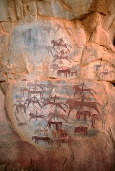 Painted figures of mounted horses on cave wall, Guilemsi,  Tagant, Mauritania