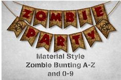 Zombie Party Bunting A to Z and 0-9 with Bio-hazard by OmniPrints